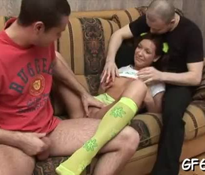 Sweetheart is getting her twat screwed by a black dude and white hunk