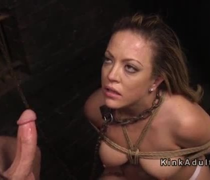 Tied up brunette beauty gets training in dungeon